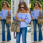 Blue/White Off Shoulder Stripe Blouse