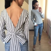 Black/White Long Sleeve Blouse