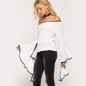 Black/White Wide Sleeve Blouse