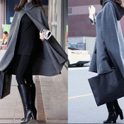 Grey Cape Hooded Coat