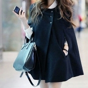 Short Black Cape Coat
