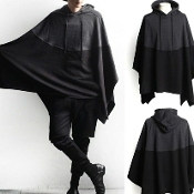 Black/Grey Hooded Poncho