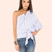 Blue/White Off Shoulder Blouse1