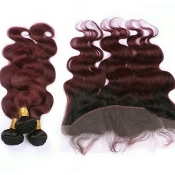 1B/99J 3 Bundles with Frontal Virgin Human Hair