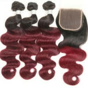 1B/99J 3 Bundles with Closure Virgin Human Hair