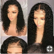 Virgin Human Hair Mongolian Kinky Curly Full Lace Wig 2