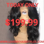 #0000002 Lace Front Wavy Virgin Human Hair Wig