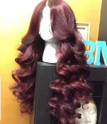 #00000008 Burgundy Lace Front Wavy Virgin Human Hair
