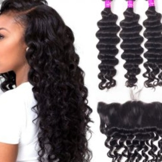 3 Bundle Deep Wave Special Plus FREE LACE FRONTAL 13x4