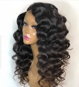 #0000000000002 Lace Front Curly Virgin Human Hair Wig
