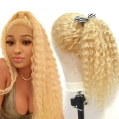 ########08 613 Lace Front Preplucked Invisible Deep Wave Wig