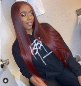 #########02 Lace Front 99J Straight Wig